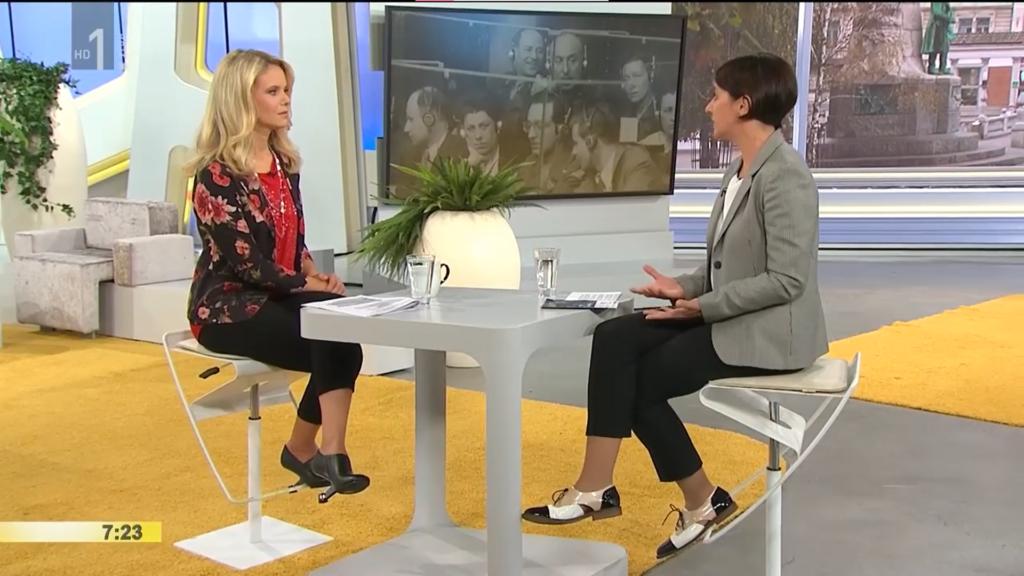 Nada Prodan v oddaji Dobro jutro na RTV Slovenija kot predsednica ZKTS, september 2018